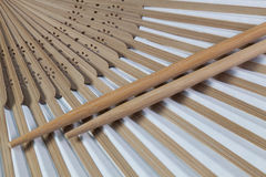 Typical Japanese hand fan and chopsticks Royalty Free Stock Photos