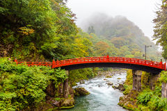 Typical Japanese red bridge in Nikko Royalty Free Stock Photos