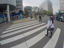Typical Japanese school girl is crossing the street. Fukuoka, Japan - April 27, 2016: Typical Japanese school girl is crossing the street Royalty Free Stock Photo