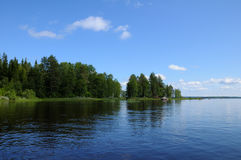 Typical Karelian lake with huge boulders Stock Image