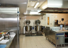 Typical kitchen of a restaurant Stock Photos