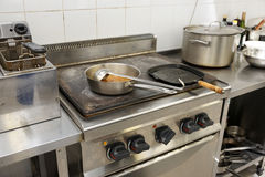 Typical kitchen of a restaurant Stock Images
