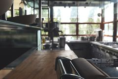 Blur Typical kitchen of a restaurant, no people, kitchen back ground. royalty free stock images