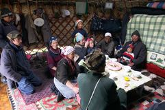 Typical kyrgyz shepherd. Inside of the Kirghiz shepherd's house - yurt (nomad's tent). #2 Royalty Free Stock Photography
