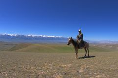 Typical kyrgyz shepherd. At typical kyrgyzstan landscape Stock Photography