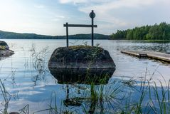 A typical landing in a campsite on the shores of the Saimaa lake stock photos