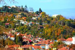 Typical landscape in the city Brasov, Transylvania, Romania, Autumn characteristic colors Royalty Free Stock Photo