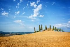 Typical landscape of a farm with a row of cypress trees in Tuscany Italy. Typical landscape of a farm with a row of cypress trees in Tuscany, Italy Stock Photo