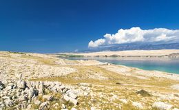 Typical landscape of Island of Pag, Croatia stock images