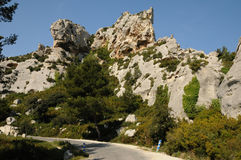Typical landscape of Les Baux de Provence in Provence Royalty Free Stock Photography