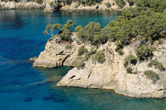 Typical landscape of Mediterranean coast and sea. Sea, shores and creeks in Mediterranee in south france near Marseille with blue water, limestone cliffs and Stock Photography