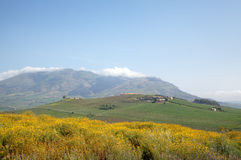 Typical landscape of a mountain valley on Sicily Royalty Free Stock Images