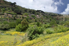 Typical Landscape Of A Mountain Valley In Sicily, Italy Royalty Free Stock Image