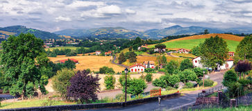 Typical landscape in Pays Basque, France. Landscape outside Saint Jean Pied de Port in Pays Basque, France Royalty Free Stock Image