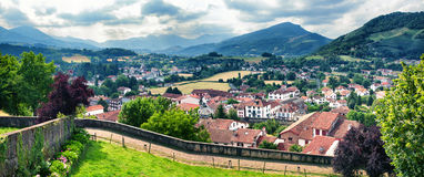 Typical landscape in Pays Basque, France. Panoramic view of Saint Jean Pied de Port in Pays Basque, France Royalty Free Stock Image