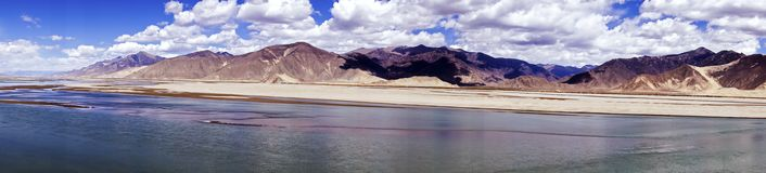 Panoramic view of Brahmaputra river and mountain landscape - Tibet Royalty Free Stock Photos