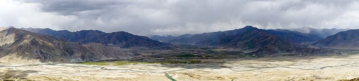 Panoramic view of lhassa river - Tibet Royalty Free Stock Photo