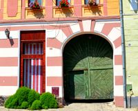 Typical landscape in the village Biertan, Transylvania Stock Photos