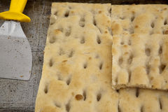 Typical ligurian salted cakes called focaccia Royalty Free Stock Photos
