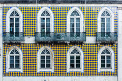 Typical lisbon architecture. tile azulejos facade with windows Royalty Free Stock Image