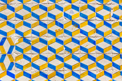 Typical Lisbon old ceramic wall tiles (azulejos). On the building exterior in Lisbon, Portugal Stock Photography