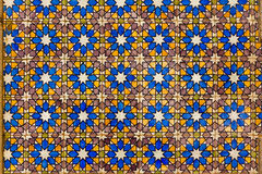 Typical Lisbon old ceramic wall tiles (azulejos). On the building exterior in Lisbon, Portugal royalty free stock photo