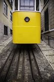 Typical Lisbon tram. Old city of Portugal vintage lisboa yellow street tramway travel historic alfama europe electric transport urban transportation stock images