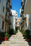 Typical little street of the old town of Peniscola. Spain Royalty Free Stock Image