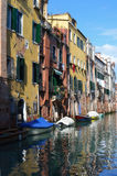 Venice canal. A typical little and sunny canal in Venice, Italy royalty free stock image