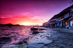 The typical little village of Klima in Milos island Greece at su Royalty Free Stock Photos