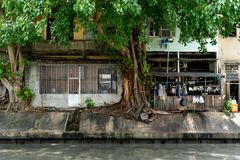 Outside kitchen by the river in Bangkok royalty free stock images
