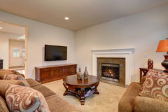 Typical living room in american home with carpet, and velvet sof Royalty Free Stock Photos