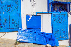 Typical local door of traditional home; Tunis; Tunisia Royalty Free Stock Images