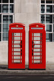 Typical London Phone Box. But the inscription is up side down Stock Image