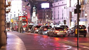 Typical London street view at Picadilly circus stock video footage