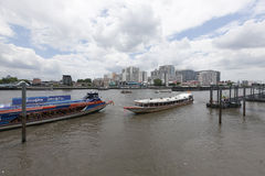 Typical long tail boat on Chao Praya river. BANGKOK, THAILAND - July 3 : Typical long tail boat on Chao Praya river in Bangkok on 3 July 2015. The river is a Royalty Free Stock Photography