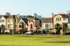 Colorful iconic houses in San Francisco, California, USA royalty free stock photography