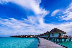 Typical Luxury Overwater Bungalow Stock Images