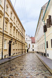 Typical main street with antique buildings in Zagreb,Croatia. Zagreb,Croatia - typical small town main street in a rainy day Royalty Free Stock Photo