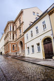 Typical main street in Croatia in a rainy day Stock Photos