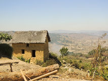 Typical malagasy village - african hut Royalty Free Stock Images