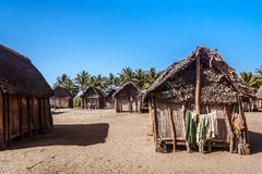 Typical malagasy village. African huts in Ambohitsara, typical Betsimisaraka village of the  Pangalanes channel, east of Madagascar Stock Images