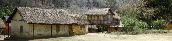 Typical malgasy village - african hut Stock Images