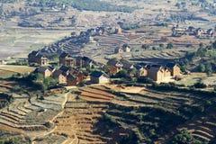 Typical malgasy village - african hut Stock Photos