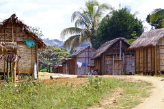 Typical malgasy village - african hut Royalty Free Stock Images
