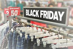 Black Friday concept. Typical mall in Black Friday shopping royalty free stock photo
