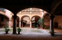 Typical Mallorca antique noble houses in the Spanish Balearic island. View on a typical court inside Palma de Mallorca historical noble buildings Stock Image