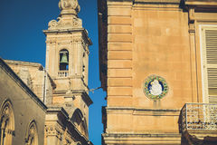 Typical Maltese architecture in Mdina city - Malta.  Stock Photography
