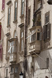 Typical maltese balconies in historical district of capital of M. Alta - Valletta, Europe Stock Photos