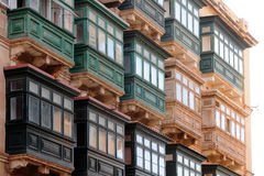 Typical Maltese covered balconies. In Valletta, Malta Royalty Free Stock Images
